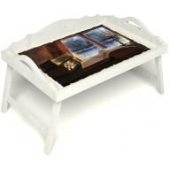 Столик для завтрака в постель «Русская берёза», «Зимний вечер» с 3-мя фигурными бортиками цвет белый