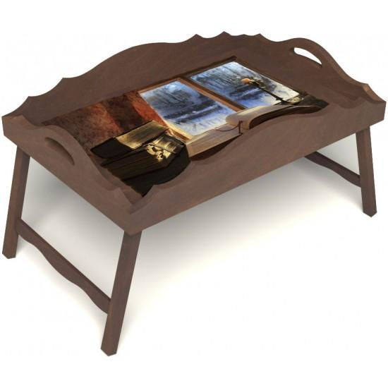 Столик для завтрака в постель «Русская берёза», «Зимний вечер» с фигурным бортиком цвет орех