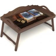Столик для завтрака в постель «Зимний вечер» с 3-мя фигурными бортиками цвет орех