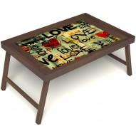 Столик для завтрака в постель «Любимым» без ручек цвет орех