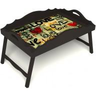 Столик для завтрака в постель «Любимым» с фигурным бортиком цвет венге