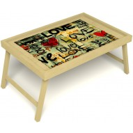 Столик для завтрака в постель «Любимым» без ручек цвет светлый