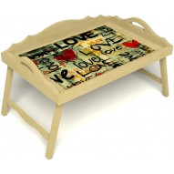 Столик для завтрака в постель «Любимым» с 3-мя фигурными бортиками цвет светлый