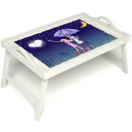 Столик для завтрака в постель «Любовь это» с ручками цвет белый