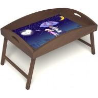 Столик для завтрака в постель «Любовь это» с высоким бортиком цвет орех