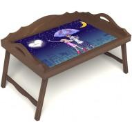 Столик для завтрака в постель «Любовь это» с 3-мя фигурными бортиками цвет орех