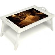 Столик для завтрака в постель «Магическое заклинание» с ручками цвет белый