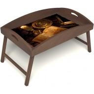 Столик для завтрака в постель «Магическое заклинание» с высоким бортиком цвет орех