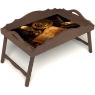 Столик для завтрака в постель «Русская берёза», «Магическое заклинание» с фигурным бортиком цвет орех