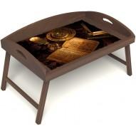 Столик для завтрака в постель «Русская берёза», «Магическое заклинание» с 3-мя высокими бортиками цвет орех