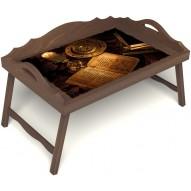 Столик для завтрака в постель «Магическое заклинание» с 3-мя фигурными бортиками цвет орех