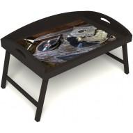 Столик для завтрака в постель «Ностальгия» с 3-мя высокими бортиками цвет венге