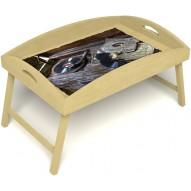 Столик для завтрака в постель «Ностальгия» с высоким бортиком цвет светлый