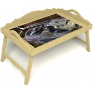 Столик для завтрака в постель «Ностальгия» с 3-мя фигурными бортиками цвет светлый