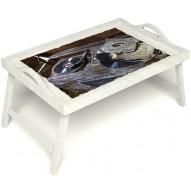 Столик для завтрака в постель «Ностальгия» с ручками цвет белый