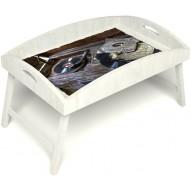 Столик для завтрака в постель «Ностальгия» с высоким бортиком цвет белый