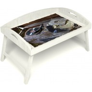 Столик для завтрака в постель «Ностальгия» с 3-мя высокими бортиками цвет белый