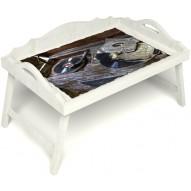 Столик для завтрака в постель «Ностальгия» с 3-мя фигурными бортиками цвет белый