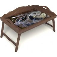 Столик для завтрака в постель «Ностальгия» с 3-мя фигурными бортиками цвет орех
