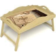 Столик для завтрака в постель «Русская берёза», «Письма из Парижа» с фигурным бортиком цвет светлый