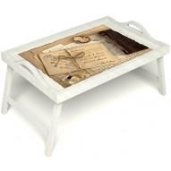 Столик для завтрака в постель «Письма из Парижа» с ручками цвет белый