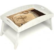 Столик для завтрака в постель «Русская берёза», «Письма из Парижа» с высоким бортиком цвет белый