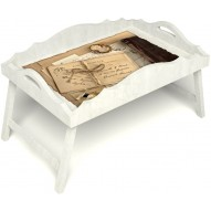 Столик для завтрака в постель «Русская берёза», «Письма из Парижа» с фигурным бортиком цвет белый