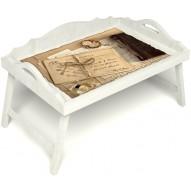 Столик для завтрака в постель «Русская берёза», «Письма из Парижа» с 3-мя фигурными бортиками цвет белый