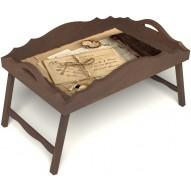 Столик для завтрака в постель «Русская берёза», «Письма из Парижа» с фигурным бортиком цвет орех