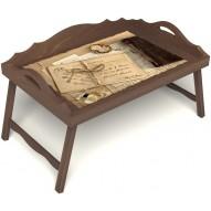 Столик для завтрака в постель «Письма из Парижа» с 3-мя фигурными бортиками цвет орех