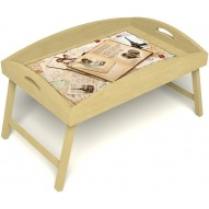 Столик для завтрака в постель «Свадебный альбом» с высоким бортиком цвет светлый