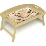 Столик для завтрака в постель «Свадебный альбом» с 3-мя высокими бортиками цвет светлый