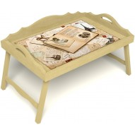 Столик для завтрака в постель «Свадебный альбом» с 3-мя фигурными бортиками цвет светлый