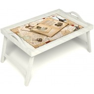 Столик для завтрака в постель «Свадебный альбом» с ручками цвет белый