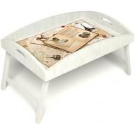 Столик для завтрака в постель «Свадебный альбом» с высоким бортиком цвет белый
