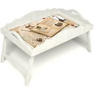 Столик для завтрака в постель «Свадебный альбом» с фигурным бортиком цвет белый
