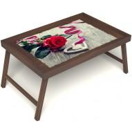 Столик для завтрака в постель «Дарю свое сердце» без ручек цвет орех