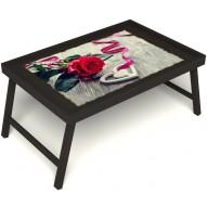 Столик для завтрака в постель «Дарю свое сердце» без ручек цвет венге