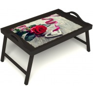 Столик для завтрака в постель «Русская берёза», «Дарю свое сердце» с ручками цвет венге