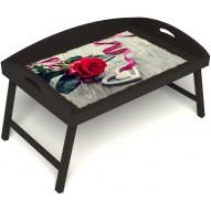 Столик для завтрака в постель «Русская берёза», «Дарю свое сердце» с 3-мя высокими бортиками цвет венге