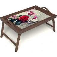 Столик для завтрака в постель «Русская берёза», «Дарю свое сердце» с ручками цвет орех