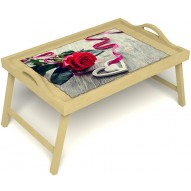 Столик для завтрака в постель «Русская берёза», «Дарю свое сердце» с ручками цвет светлый