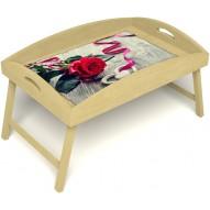 Столик для завтрака в постель «Русская берёза», «Дарю свое сердце» с высоким бортиком цвет светлый