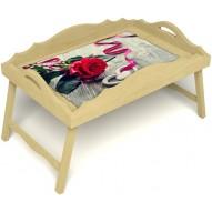 Столик для завтрака в постель «Русская берёза», «Дарю свое сердце» с фигурным бортиком цвет светлый