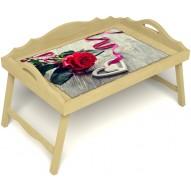 Столик для завтрака в постель «Русская берёза», «Дарю свое сердце» с 3-мя фигурными бортиками цвет светлый