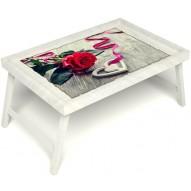Столик для завтрака в постель «Русская берёза», «Дарю свое сердце» без ручек цвет белый