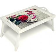 Столик для завтрака в постель «Русская берёза», «Дарю свое сердце» с ручками цвет белый