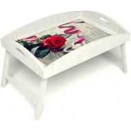 Столик для завтрака в постель «Русская берёза», «Дарю свое сердце» с высоким бортиком цвет белый