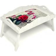 Столик для завтрака в постель «Русская берёза», «Дарю свое сердце» с фигурным бортиком цвет белый