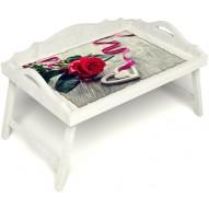 Столик для завтрака в постель «Русская берёза», «Дарю свое сердце» с 3-мя фигурными бортиками цвет белый